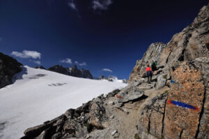 Gletschertrekking im untersten Unterwallis – mit Blick zum Mont Blanc
